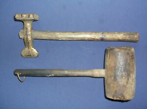 Antique Wood Mallet and Meat Tenderizer