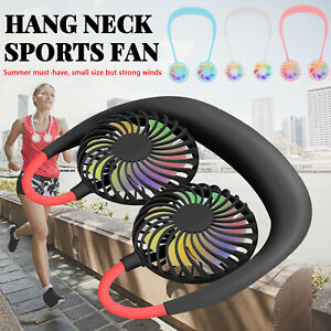Neckband Personal Portable Mini Fan Dual Fan Hanging Hands-Free USB Rechargeable