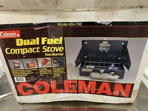 Vtg COLEMAN TWO BURNER Dual Fuel Compact STOVE 424-700 Camping Camp