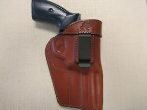 Ruger GP100357 magnum iwb owb ambidextrous BROWN leather revolver holster