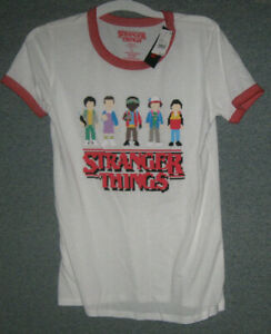 Stranger Things T-shirt 8 Bit Characters & Words Women's Large Official Netflix