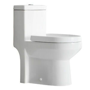 HOROW One Piece Toilet Compact Bathroom Mini Commode Water Closet Dual Flush
