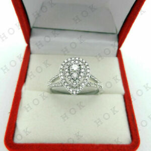 2 Ct Diamond Real 10k White Gold Pear Shape Engagement Wedding Ring For Women