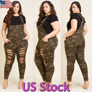 Plus Size Women's Loose Camouflage Pants Jumpsuit Strap Ripped Trousers Overalls