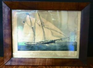 Antique Framed Currier amp; Ives Lithograph The Yacht Henrietta of NY $109.99