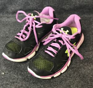 UNDER ARMOUR Lecrown Kids USA youth 3 Black Purple Green Athletic Running Shoes