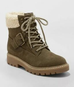 Universal Thread Women's Susan Sherpa Tipped Hiker Boots Green Size 10