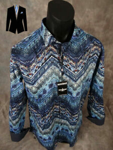 Mens BARABAS Button Sport Shirt Blue Lake Abstract Patterns in CLASSIC FIT