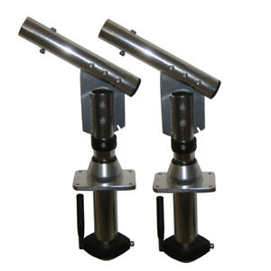 Lee'S Tackle Sw9300 Sidewinder Bolt-In Outrigger Mounts Lay-Down Version Silver