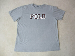 VINTAGE Ralph Lauren Polo Sport Shirt Adult Extra Large Gray Red Spell Out 90s