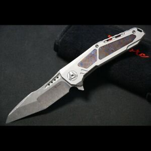 Reate K-3 Tactical Flipper Knife Mokuti Inlay & Titanium tanto Damascus blade
