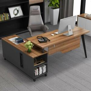 L-Shaped Executive Computer Desk Working Workstation with Storage