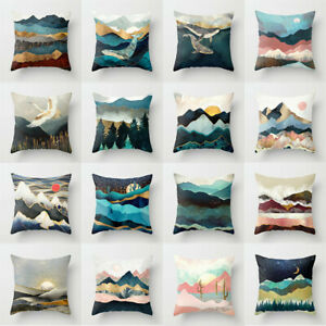 Bed Waist Case Landscape Pillow Decoration Home Cover Nature Throw Sofa Cushion $3.15