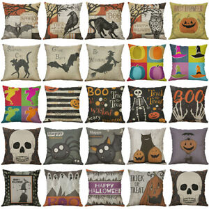 Cotton Linen Decoration Pillow Cushion Home Case Cover Halloween Print Animal $3.15