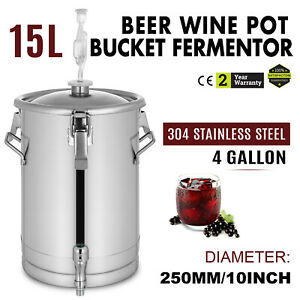 Brewing Brew Bucket 4 Gal Stainless Steel Conical Fermenter Beer