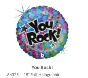 """18"""" Foil Holographic You Rock! Balloon  NEW"""
