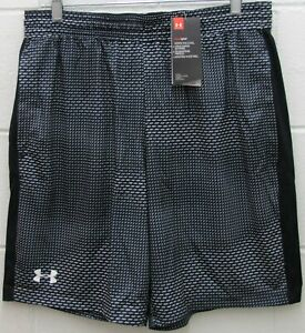 Under Armour Men's Heat Gear Raid Shorts Fitted Stretch Black Gray Size XXL New