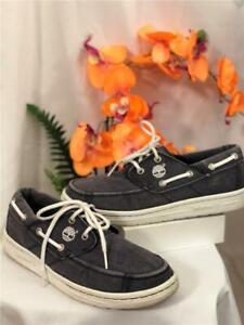 Timberland Classic Mens 2 eyes Gray Denim Boat Shoes Size 9.5M $42.49