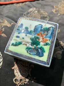GREAT CHINESE QING PERIOD HAND PAINTED PORCELAIN SQAURE ANTIQUE BOX