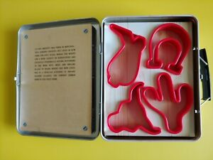 The Cowboy Cookie Box 4 Piece Cookie Cutter Tin Box Set Recipe Book NEW VTG