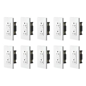 10 PK 20A GFCI Safe Lock TR Receptacle Outlet with Wall Plate LED Indicator ETL