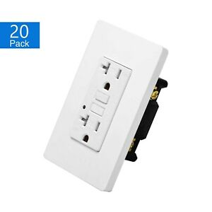 20 PK 20AMP Weather Resistant WR TR GFCI Receptacle Outlet with Wall Plate White