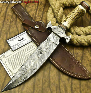 John Miller CUSTOM HAND FORGED DAMASCUS STEEL BLADE HUNTING KNIFE  STAG ANTLER