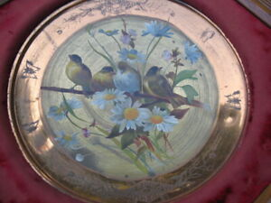 Antique VICTORIAN Aesthetic period Brass plate framed  OIL PAINTING Birds