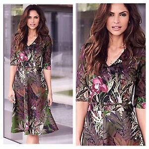 Kaleidoscope Size 16 Green Floral Print V Neck Scuba Fit & Flare DRESS Party £68
