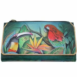 Anuschka Leather Organizer Wallet - Tropical Bliss - Retired Limited Quantity