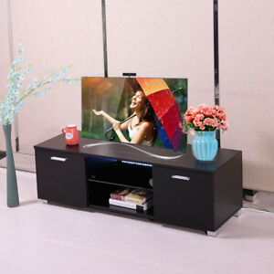 High Gloss TV Stand Unit Cabinet with LED Light Shelves 2 Drawers Console  Black