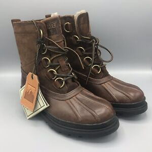 Frye Riley D Ring Waterproof Shearling Duck Boots Men's 8 M Espresso New w Tag
