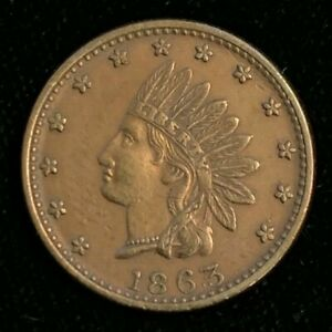 Rare 1863 Indian Head Design Cross Cannons Patriotic Civil War Token! BLot 040
