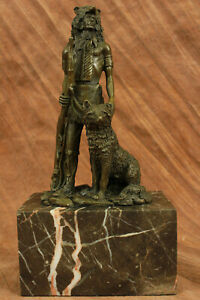 Rare Indian Native American Art Chief Eagle Bronze Marble Statue Sculpture Decor