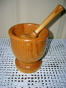 Vintage Solid Maritime Pine Herb/Pill Crusher Mortar & Pestle -Made in Portugal