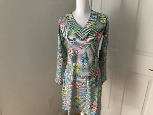 IBKUL Joanna LS Dress Knit Stretch V-Neck SZ XS Protection UPF 50+ NWT Multi