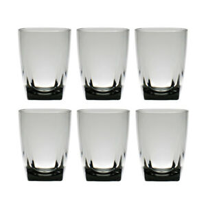 QG 16 oz Grey Acrylic Plastic Wine Glass Cup w Heavy Square Base Tumbler 6 pc