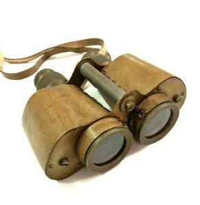Antique Maritime Heavy Brass Leather Binocular with Strap Nautical Collectables C $155.00