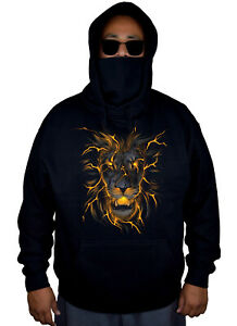 Men's Lava Lion Mask Hoodie Sweater Jacket Fire flame beast Scary Animal Hunting