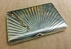 Antique RUSSIAN Imperial 84 Silver Cigarette Case K. FABERGE design c. 1900-17th