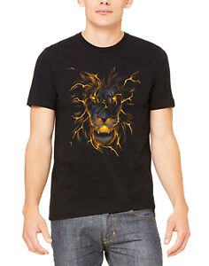 Men's Lava Lion Black T Shirt Flaming Glowing Beast Fire Hunting Wildlife Animal