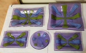 5pc Higgins Fused Art Glass Set - Round, Square & Rectangle Blue, Green, Lilac