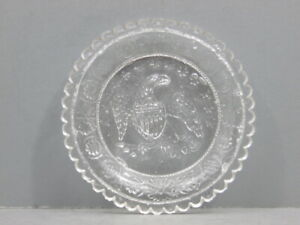 ANTIQUE LACY PERIOD CUP PLATE LEE ROSE LR-677A EAGLE ARROWS SCALLOPED MIDWESTERN