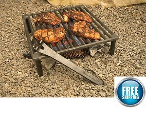 Small Cast Iron Grill Grate BBQ Barbecue Charcoal Campfire Outdoor Open Stove