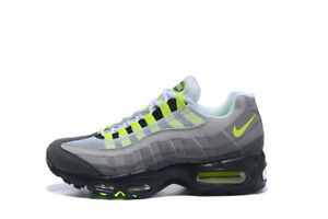 MENS NIKE AIR MAX 95 OG COOL GRAY NEON YELLOW SHOES