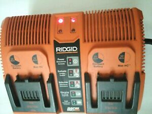 Rare -RIDGID Rapid Max 12v 14.4v 18.0V Twin Dual Battery Charger Station
