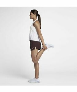 "$40 NEW Women's Nike Elevate Track Running 3"" Shorts 895823-652 Maroon Brown"