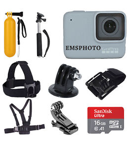 GoPro HERO7 (White) Waterproof Digital Action Camera  With Sports Kit +16GB Card