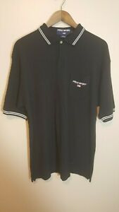 Vintage Ralph Lauren POLO SPORT Black Spell Out Polo Shirt USA Flag Size Large