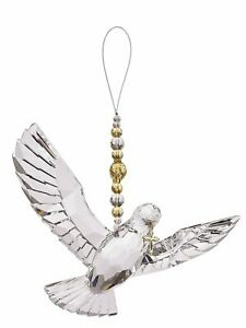 Crystal Expressions Hanging Dove with Gold Cross and Beads Ornament by Ganz